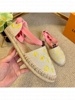 Louis Vuitton Starboard Monogram Canvas Espadrilles with Ankle Laces Pink 2021 Collection