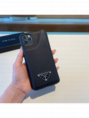 Prada Saffiano Leather iPhone Case with Pouch Black 2021