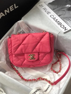 Chanel Bubble Flap Bag 18cm Calfskin Leather Gold Hardware Fall/Winter 2020 Collection, Pink