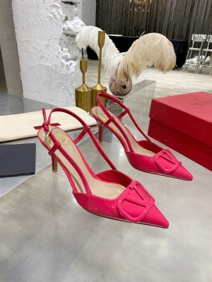 VALENTINO VLOGO SIGNATURE PATENT LEATHER SLINGBACK PUMP 70MM PINK 2021 Collection