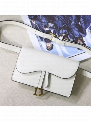Dior Saddle Palm-Grained Leather Belt Bag White 2019 Collection