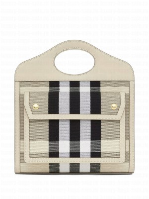Burberry Mini Check Canvas and Leather Pocket Bag Cream