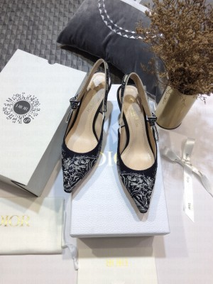 Dior J'Adior Slingback Pumps 6.5cm in Deep Blue Toile de Jouy Reverse Embroidered Cotton 2021 Collection