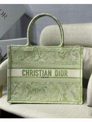 Dior Small Book Tote Bag in Green Toile de Jouy Reverse Embroidery  2021 Collection