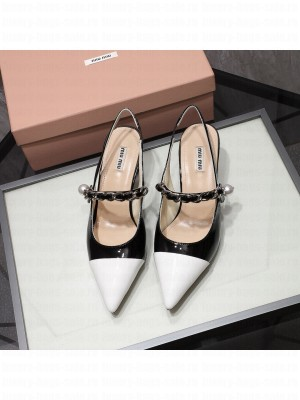 MIU MIU LEATHER POINTED Slingback Strap with chain and button 55 mm heel Black/White