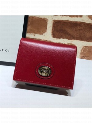 Gucci Leather Interlocking G Card Case Wallet 598532 Red 2019 Collection