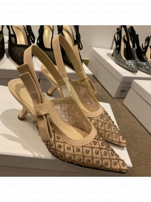 Dior J'Adior Slingback Pumps/Ballerinas Flats in Nude Crystal Mesh Embroidery Spring/Summer 2021 Collection