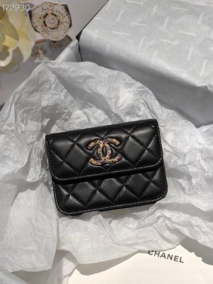 Chanel Zirconium Small Clutch With Chain Bag 12cm Lambskin Leather Gold Hardware Fall/Winter 2020 Collection,  Black