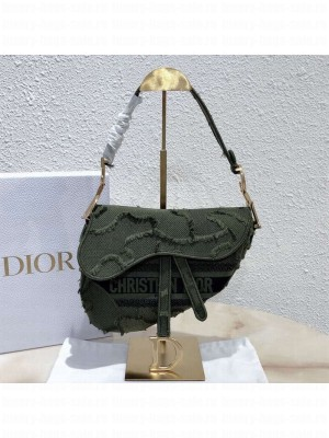 Dior Medium Saddle Bag in Camouflage Embroidered Canvas Bag Green 2019 Collection