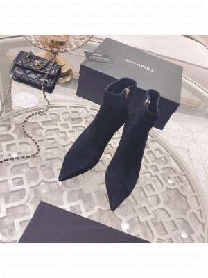 Chanel Suede Pointed Wedge Ankle Boot black 2021 Collection