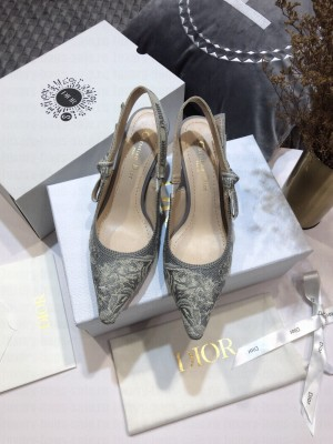 Dior J'Adior Slingback Pumps 6.5cm in Grey Toile de Jouy Reverse Embroidered Cotton 2021 Collection