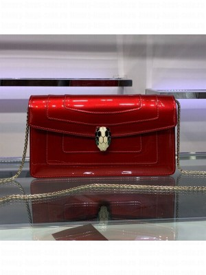 Bvlgari Serpenti Forever Patent Leather Chain Shoulder Bag 25cm Red 2019 Collection