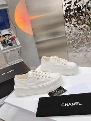 Chanel Canvas Platform Sneakers White 2021 Collection