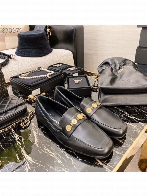 Chanel Charm Embellished Loafers Lambskin Leather Spring/Summer 2021 Collection, Black