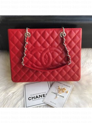 Chanel Grained Calfskin Grand Shopping Tote GST Bag Red/Silver Collection