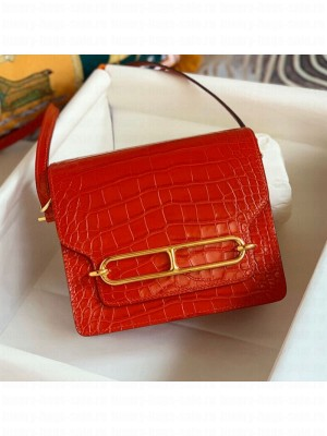 Hermes Sac Roulis 18cm Bag in Crocodile Embossed Calf Leather Red 2019 (Half Handmade) Collection