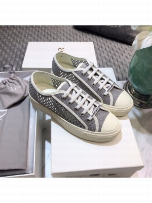 DIOR Unisex WALK'N'DIOR SNEAKER Hollow Grey Embroidered Cotton  2021 Collection