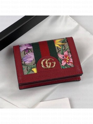 Gucci Ophidia GG Flora Card Case Wallet 523155 Red 2019 Collection