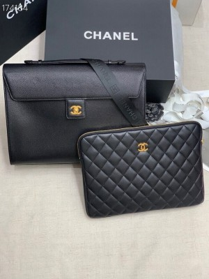 Chanel Executive Briefcase Bag with Large Pouch AS99457 Gold Hardware Fall/Winter 2020 Collection, Black