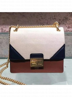 Fendi Kan U Small Canvas and Calfskin Embossed Corners Flap Bag Rust Brown 2019  Collection