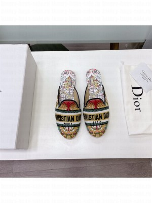 Dior Off Mules Multicolor Dior In Heart Lights Embroidered Cotton 2021 Collection 06