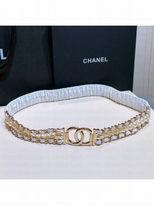 Chanel Pearl Lambskin Pleated Chain Belt AA7481 White  2021 Collection