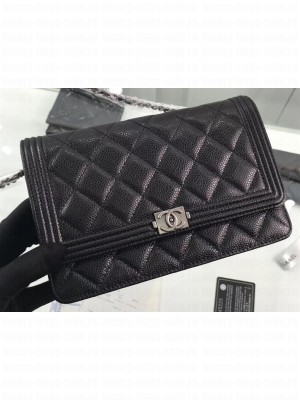 Chanel Grained Leather Boy Wallet On Chain WOC Bag A80287 Black/Silver