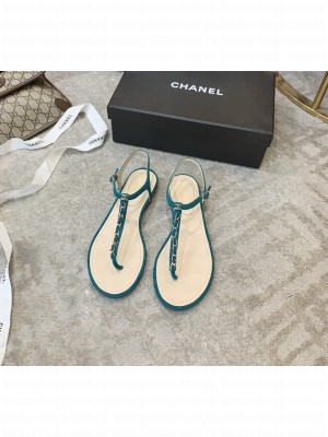 Chanel Suede Thong Slide Sandal Blue  2021 Collection