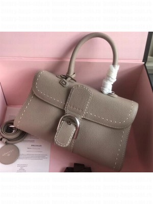 Delvaux Brillant East/West Mini Tote Bag In Togo Leather Large Light Gray