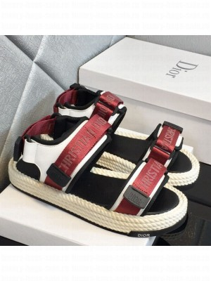 Dior D-Wander Fabric Flat Strap Sandals Red Spring/Summer 2021 Collection 04