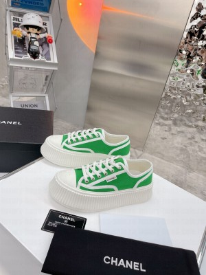 Chanel Canvas Platform Sneakers Green 2021 Collection