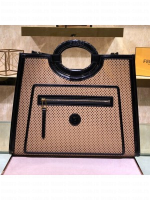Fendi Runaway Medium Perforated Leather Shopper Top Handle Bag Beige 2019 Collection