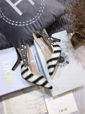 Dior J'Adior Slingback Pumps 9.5cm in Blue D-Stripes Embroidery 2021 Collection