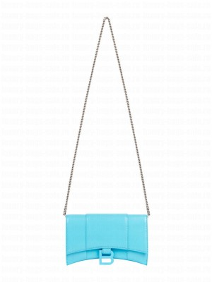 Balenciaga Hourglass Wallet With Chain 6560501 Blue