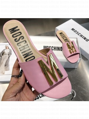 Moschino Calfskin Flat Sandals Pink With Gold Plated M Detail 2020