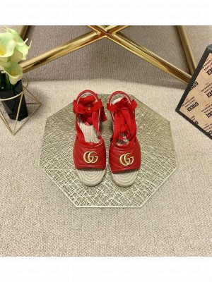 Gucci GG Lambskin Wedge Sandals Red 2021 Collection