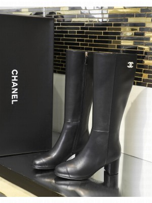 Chanel Calfskin 5cm Black Long Boots 04 2021 Collection