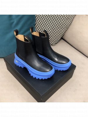 JIL SANDER Outdoor elastic-sided chelsea boots with Vibram sole Black/Blue 2021 Collection