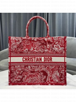 Dior Large Book Tote Bag in Red Toile de Jouy Embroidery  2021 Collection