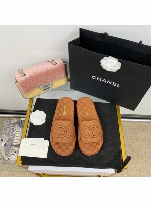 Chanel Quilted Slide On Mule Sandals Lambskin Leather Spring/Summer 2021 Collection,  Tan