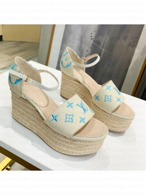Louis Vuitton Starboard Monogram Canvas Wedge Sandal White/Blue 2021 Collection
