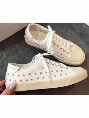 Celine Blank Low Lace Up Sneakers in Canvas and Calfskin Studs 2020