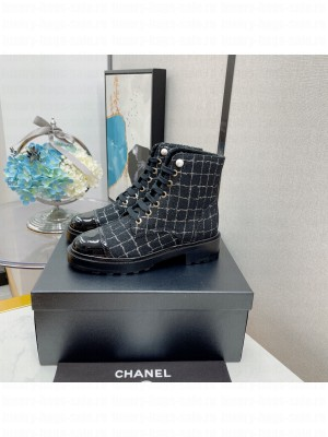 Chanel Lace Up Tweed & Calfskin Black 08 2021 Collection
