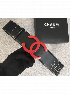 Chanel Width 5.3cm Leather Belt Black Gabrielle with Red CC Logo