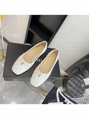 Chanel Quilted Leather Bow CC Ballerina White 2021 Collection