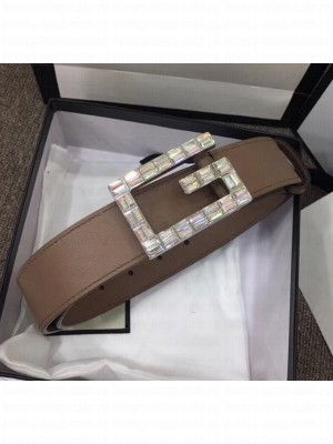 Gucci Width 3.5cm Leather Belt with Crystal Square G Buckle Nude Pink 2020 Collection