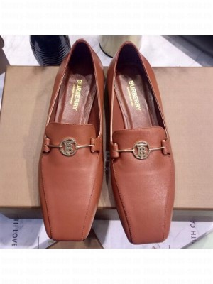 Burberry Monogram Motif Leather Loafers Brick Red 2020
