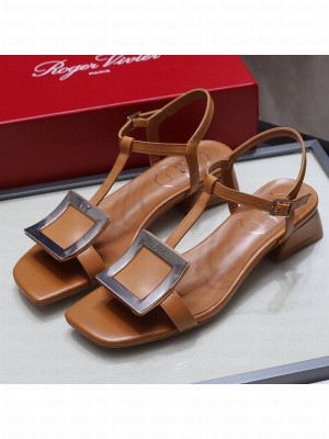 Roger Vivier Calfskin Square Buckle Sandals Brown/Silver Spring/Summer 2021 Collection