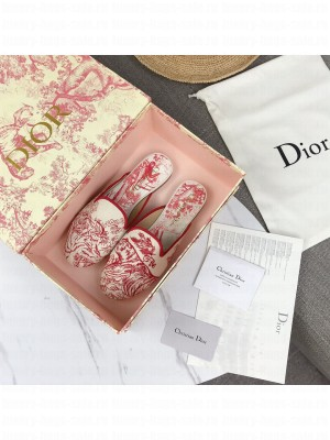 Dior Off Mules In Red Toile de Jouy Canvas 2021 Collection 04