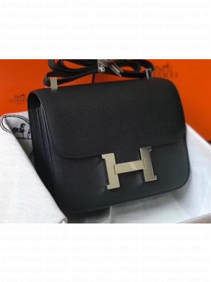 Hermes Constance Mini/MM Bag in Epsom Leather Black with Silver Hardware